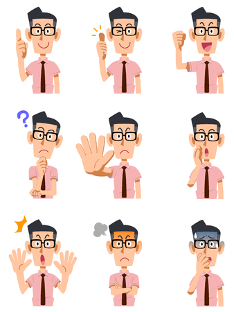 Short-sleeved shirt with glasses, 9 types of men wearing a tie of gesture and facial expression
