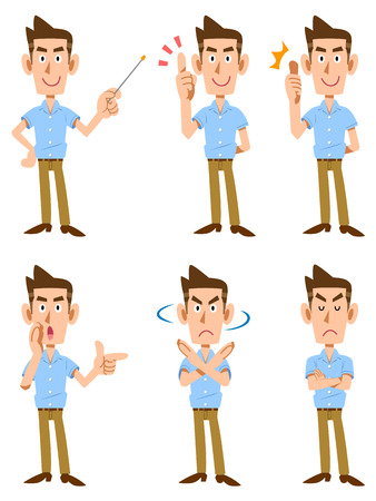 point i: Facial expression and gesture that six short-sleeved shirt men