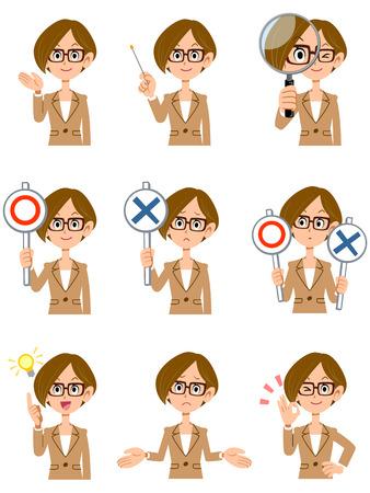 顔の表情や働く女性 9 ショートカットのメガネ ジェスチャー  イラスト・ベクター素材