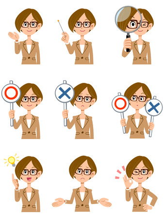 La expresión facial y los gestos que los vidrios de las mujeres atajos de trabajo 9