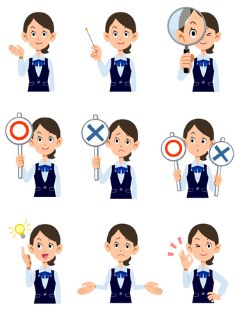 best employee: Working women 9 kinds gesture and facial expression