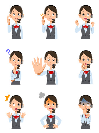 9 kinds of facial expressions and gestures of female operator wearing the headset