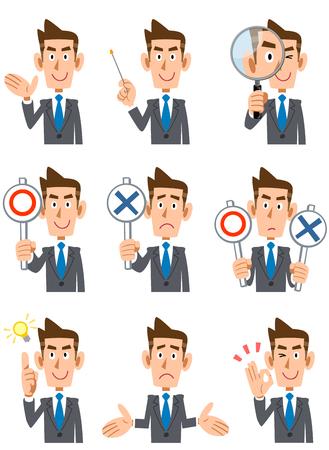 Nine businessmen facial expression and gesture Illustration