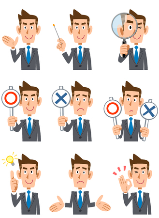 Nine businessmen facial expression and gesture Vectores