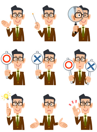 9 types of men, wearing a brown jacket and glasses facial expression and gesture