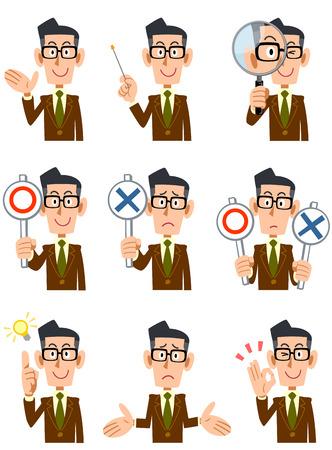 9 types van de mannen, gekleed in een bruine jas en glazen mimiek en gebaar Vector Illustratie