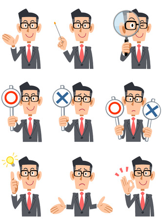 Nine businessmen with glasses facial expression and gesture Stock Illustratie