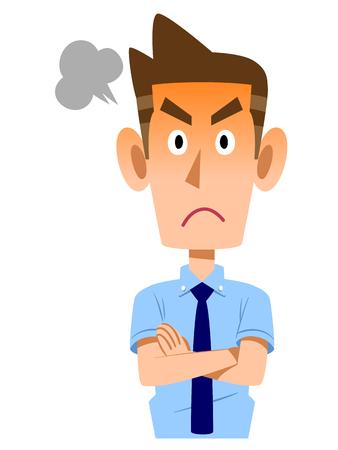 sleeve: Businessman angry short sleeve shirt