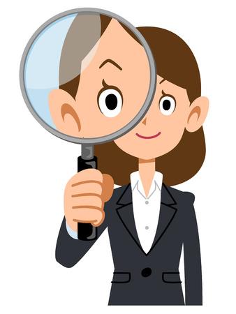 虫眼鏡でスーツ姿の女性 写真素材 - 57185064