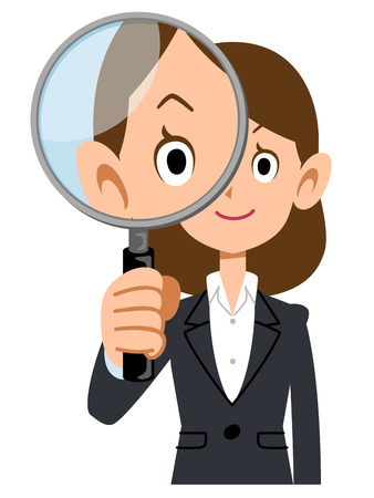 Women in suits with magnifying glass
