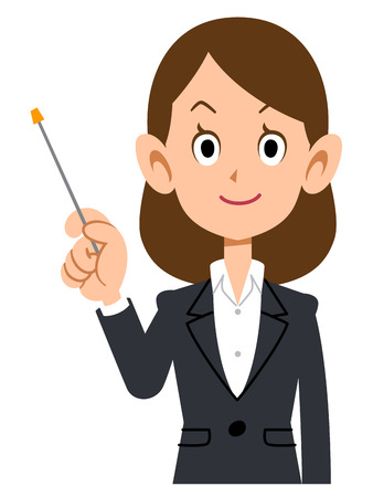 described: Woman in a suit described in point bar Illustration
