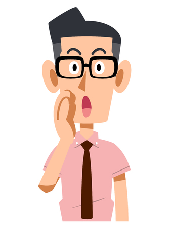 company secrets: Call for businessman wearing a short-sleeved shirt, wearing glasses Illustration