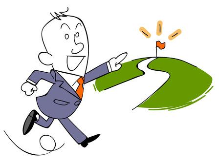 toward: Business people run toward the goal