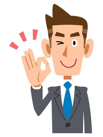new employees: Businessman indicating the OK hand sign Illustration