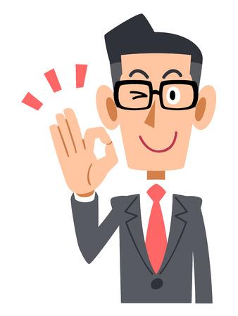 ok: The OK hand sign that businessmen put on glasses Illustration