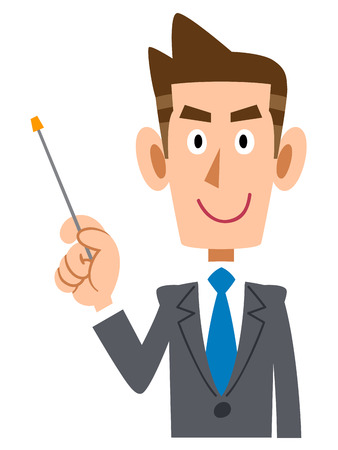 new employees: Businessmen to explain with a pointing stick