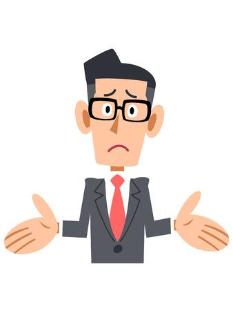 new employees: Amazed businessman put on glasses Illustration