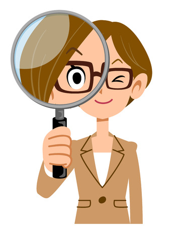 waist up: Woman wearing glasses and dressed in suits with a magnifying glass Illustration