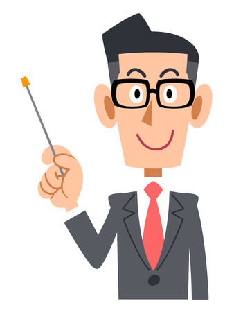 explain: Businessmen put on glasses to explain with a pointing stick Illustration