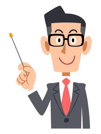 Geschäftsleute setzen auf Gläser mit einem Zeigestock zu erklären