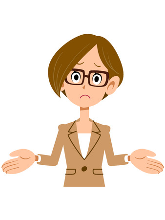 annoying: Amazed woman wearing a suit and glasses