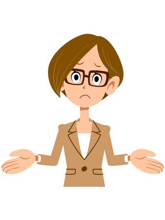 molesto: Mujer sorprendente que llevaba un traje y gafas