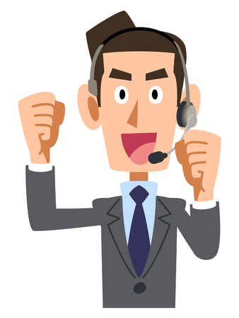 apo: You get excited businessman wearing headset Illustration