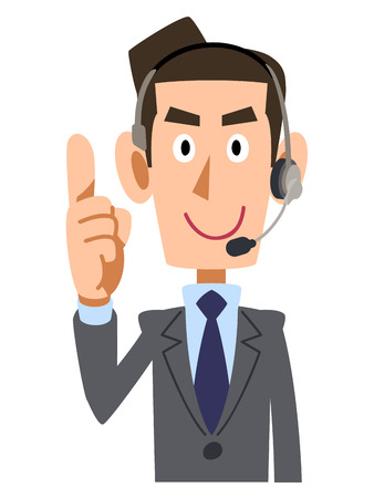 waist up: Put your index finger businessman wearing headset