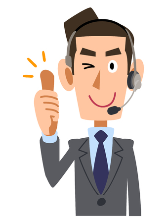 salaried worker: Samap businessman wearing headset