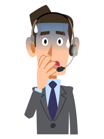 apo: Pale businessman wearing headset