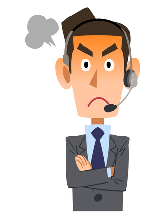 apo: Angry businessmen wearing a headset