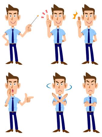 La expresión facial y los gestos que seis de los hombres llevaba una camisa de manga corta y corbata