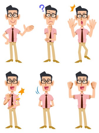 person: Facial expression and gesture that six of the men was wearing a short-sleeved shirt and tie, glasses Illustration
