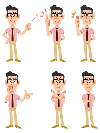 La expresión facial y los gestos que seis de los hombres llevaba una camisa de manga corta y corbata, gafas