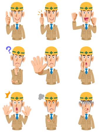 Expression of 9 types of men at a construction site Ilustração