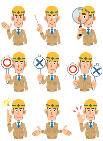 workwear: Expression of 9 types of men at a construction site Illustration