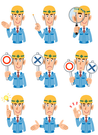 mal: Expression of 9 types of men at a construction site Illustration