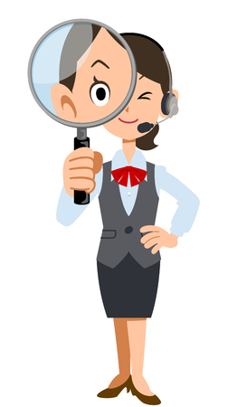 attention: Female employees wearing a headset with a magnifying glass Illustration