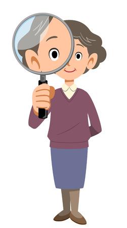 vecchiaia: Donna maggiore con la lente d'ingrandimento Vettoriali