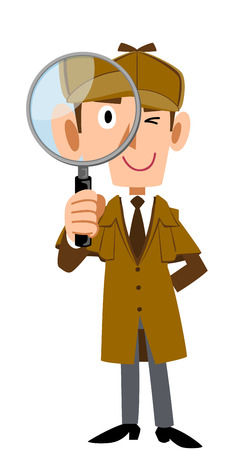 Detective with magnifying glass Ilustracja