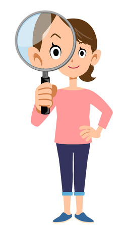 loupe: Woman with magnifying glass