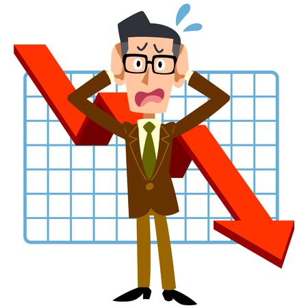 Los empresarios se preocupan bajón Ilustración de vector