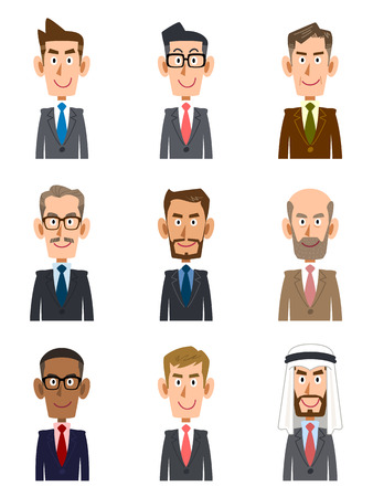 variety: Businessmen in different countries and different ages