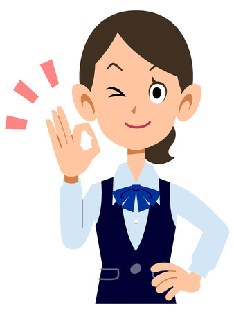 waist up: OK sign to show female employees wear uniforms Illustration