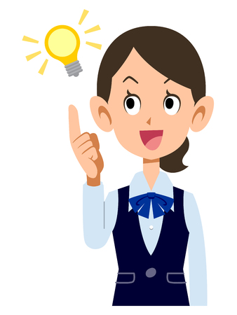 new employees: Female employees wear uniforms very idea Illustration