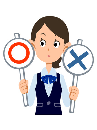 answers: Correct and incorrect to think women workers wear uniforms Illustration