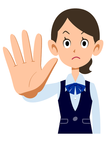 hold: Hold the female employees wear uniforms