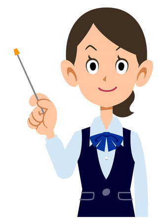 new employees: Female employees wear uniforms to explain with a pointing stick