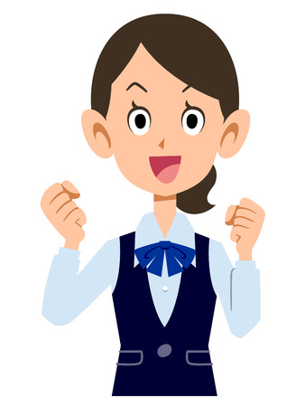 company person: excited female employees wear uniforms Illustration