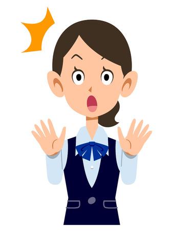 ol: Amazed female employees wear uniforms